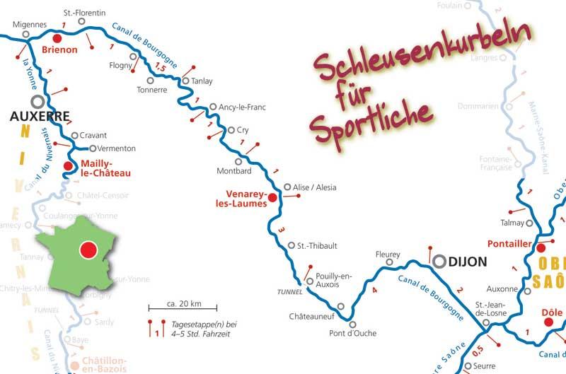 Hausbooturlaub in Burgund/Frankreich Burgundkanal / Karte